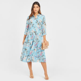Floral Print Midi Shirt Dress with Spread Collar and 3/4 Sleeves