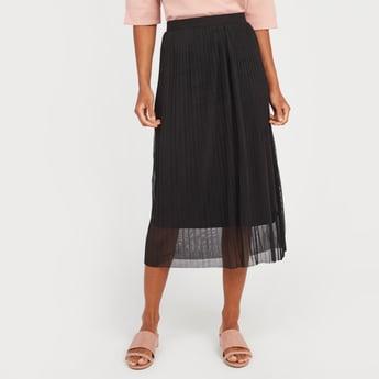 Pleated Midi Skirt with Pleat Detail