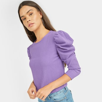 Textured Top with Puffed 3/4 Sleeves