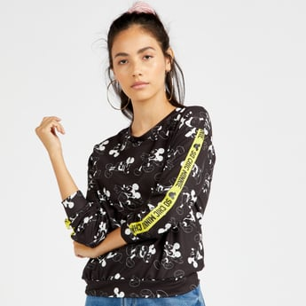 Mickey Mouse Print Sweatshirt with Round Neck and Long Sleeves