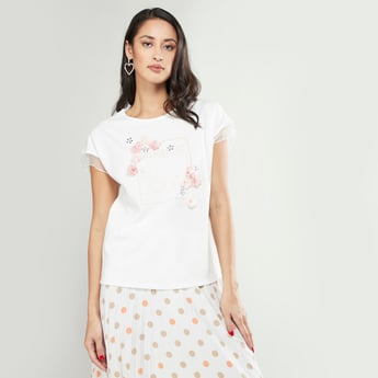 Embroidered T-shirt with Applique Detail and Short Sleeves