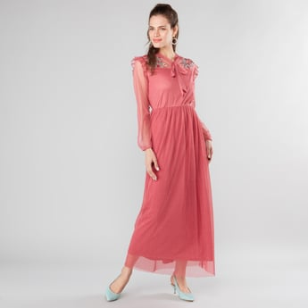Floral Embroidered Mesh Maxi Dress with Long Sleeves