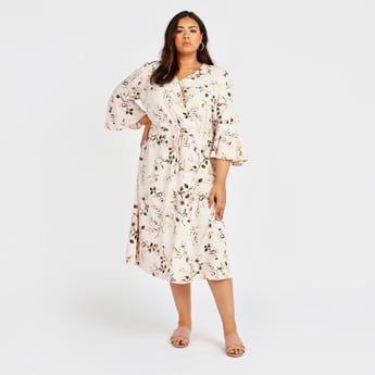 Printed Midi A-line Dress with V-neck and Bell Sleeves