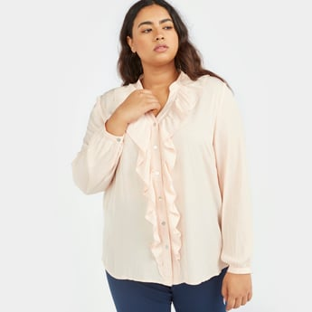 Solid Top with Long Sleeves and Ruffle Detail