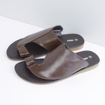 Panelled Flat Slides with Toe Ring