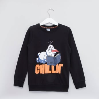 Olaf Printed Sweatshirt with Round Neck and Long Sleeves