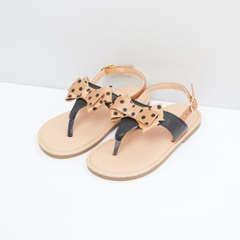 Polka Dot Printed Bow Detail Sandals with Pin Buckle Closure