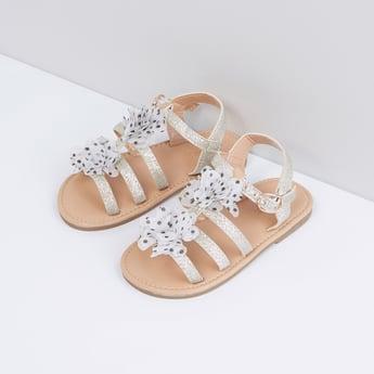 Flower Applique Detail Multi-Strap Sandals