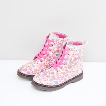 Floral Print High Top Boots with Zip Detail