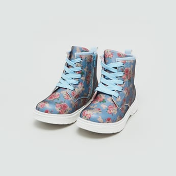 Floral Print High Top Boots with Zip Detail and Lace-Up Closure