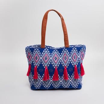 Printed Tote Bag with Tassel Detail