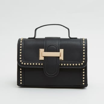 Studded Satchel Bag with Buckle Applique