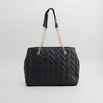 Textured Hand Bag with Twin Handles and Zip Closure