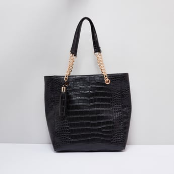Textured Handbag with Tassels and Twin Handles