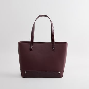 Textured Handbag with Snap Button Closure and Adjustable Strap
