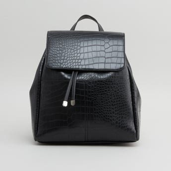 Textured Backpack with Button Closure and Adjustable Straps