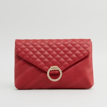 Quilted Satchel Bag with Metallic Applique Detail and Button Closure
