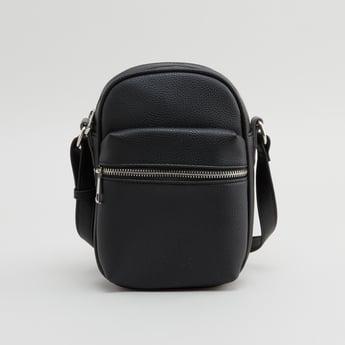 Textured Messenger Bag with Adjustable Sling Strap