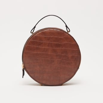 Textured Round Crossbody Bag