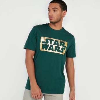 Star Wars Typographic Print T-shirt with Short Sleeves