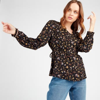 Floral Print Top with V-neck and Long Sleeves