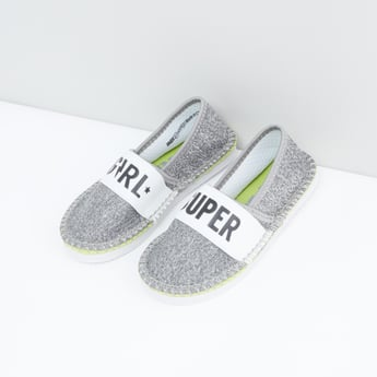 Textured Slip-On Shoes with Printed Vamp Band