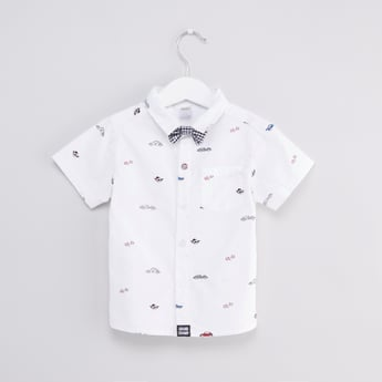 Printed Shirt with Short Sleeves and Bow Tie
