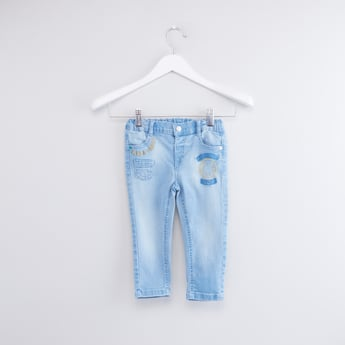 Embroidered Jeans with Pocket Detail