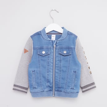 Printed Denim Jacket with Flap Pockets and Zip Closure