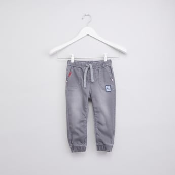 Denim Jog Pants with Drawstring and Elasticised Waistband