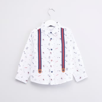 Printed Shirt with Long Sleeves and Suspenders