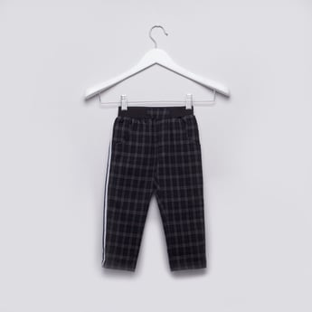 Chequered Pants with Elasticised Waistband and Tape Detail