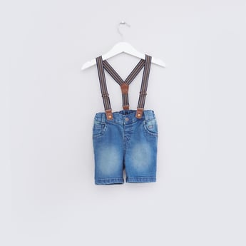 Denim Shorts with Suspenders and Pocket Detail