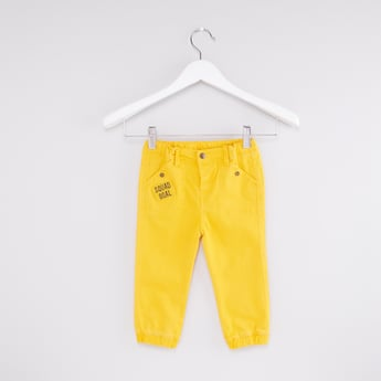 Printed Jog Pants with Button Closure and Pocket Detail