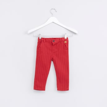 Striped Trousers with Button Closure and Pocket Detail