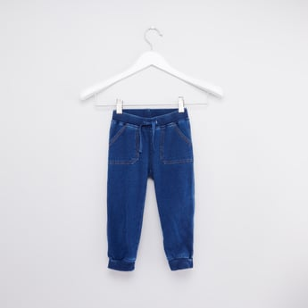 Full Length Denim Jog Pants with Pocket Detail and Drawstring