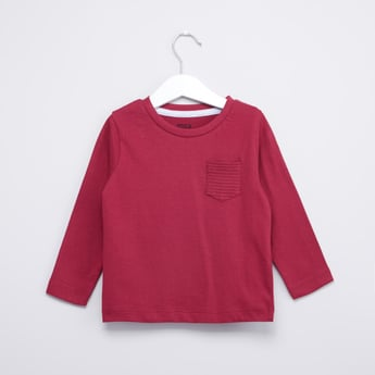 Textured Round Neck T-shirt with Long Sleeves and Pocket Detail