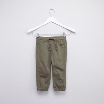 Textured Cuffed Joggers with Drawstring Closure