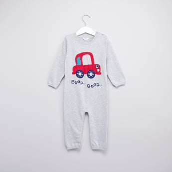 Printed Sleepsuit with Round Neck and Long Sleeves