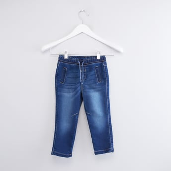 Denim Jeggings with Drawstring Closure and 2-Welt Pockets