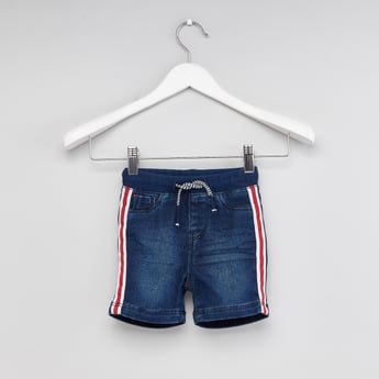 Tape Detailed Shorts with Pocket Detail and Drawstring Closure