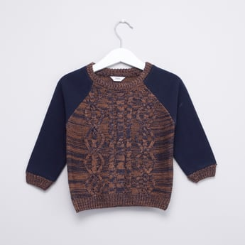 Textured Round Neck Sweater with Raglan Sleeves