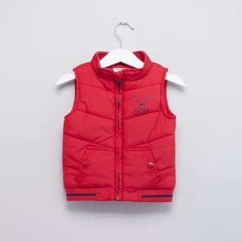 Quilted Sleeveless Zip Front Gilet