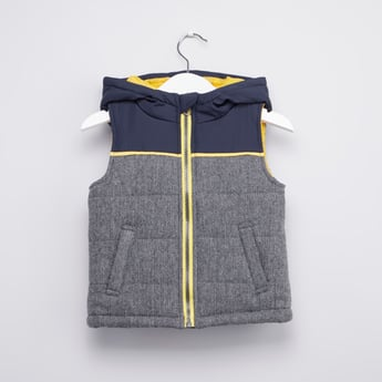 Textured Gilet Jacket with Hood