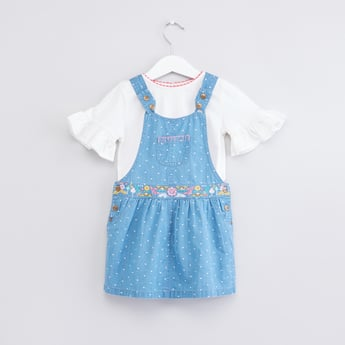 Round Neck Top with Embroidered Pinafore