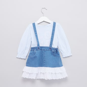 Striped Long Sleeves T-Shirt and Denim Skirt Set