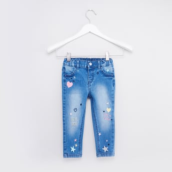 Full Length Embroidered Jeans with Pocket Detail and Belt Loops