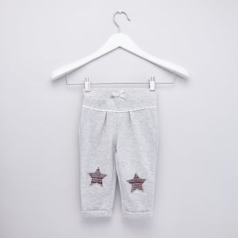 Embroidered Jog Pants with Lace Detail and Elasticised Waistband
