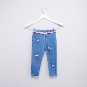 Bunny Printed Jeans with Applique Detail and Belt