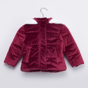 Quilted Hooded Jacket with Long Sleeves and Zip Closure